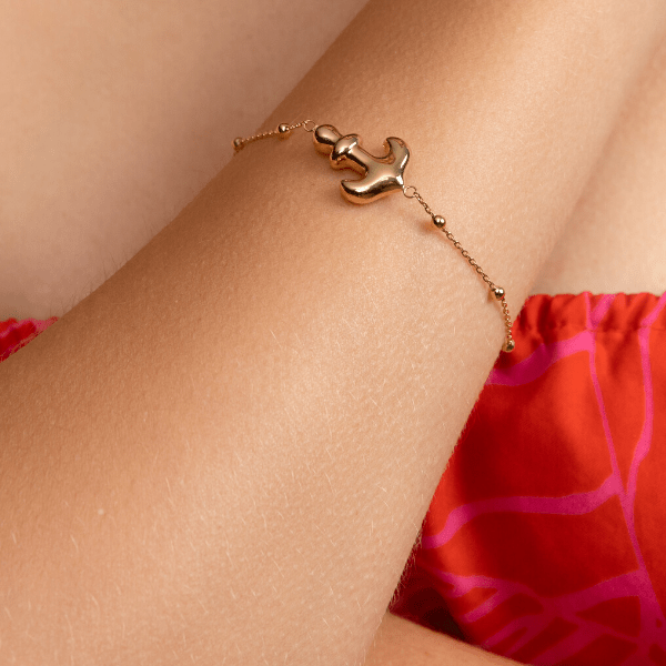 Real Gold 3D Anchor Bracelet 0473 - 18k Gold Jewelry