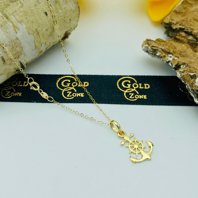 Real Gold Anchor Necklace 002 - 18K Gold Jewelry