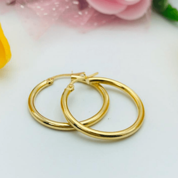 Real Gold Round Plain Earring Set