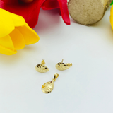 Real Gold Fine Drop 1C Flower Leaf Earring Set With Pendant - 18K Gold Jewelry