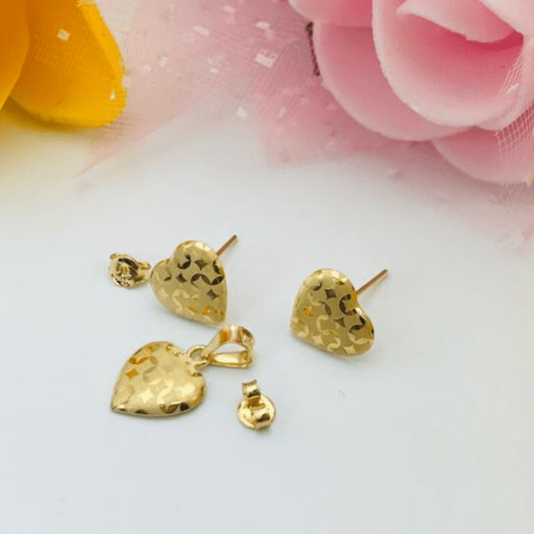 Real Gold Fine Heart Z Earring Set With Pendant