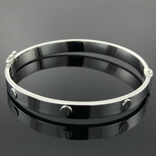 Real White Gold Cartier Design Bangle