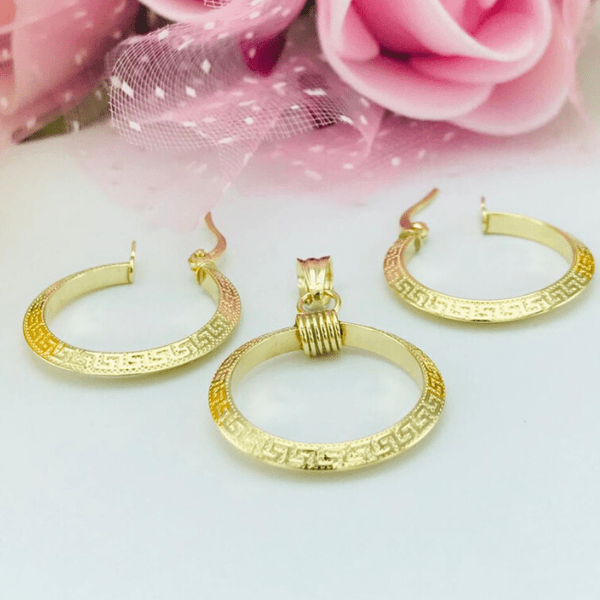 Real Gold Round Maze Hoop Earring Set With Pendant 2020 - 1