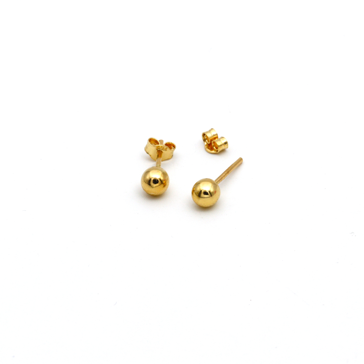 Real Gold Plain Round Stud Earring Set E1415 - 18K Gold Jewelry