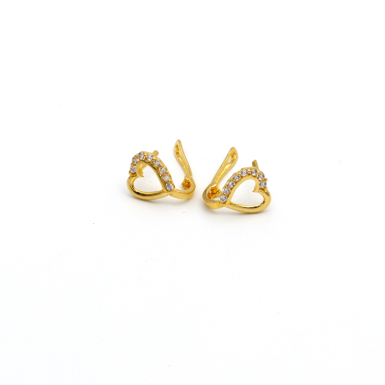 Real Gold Stone Heart Earring Set E1416 - 18K Gold Jewelry