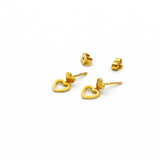 Real Gold 2 Heart Earring Set E1418 - 18K Gold Jewelry