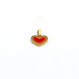 Real Gold Red Heart Stone Pendant P 1650 - 18K Gold Jewelry