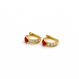 Real Gold Red Heart Earring Set E1427 - 18K Gold Jewelry
