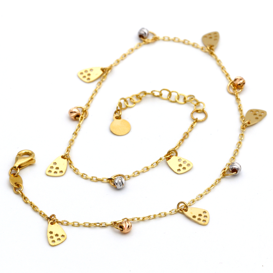 Real Gold Star Rosary Anklet Adjustable Size A1012 - 18K Gold Jewelry