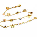 Real Gold Flower Rosary Anklet Adjustable Size A1014 - 18K Gold Jewelry