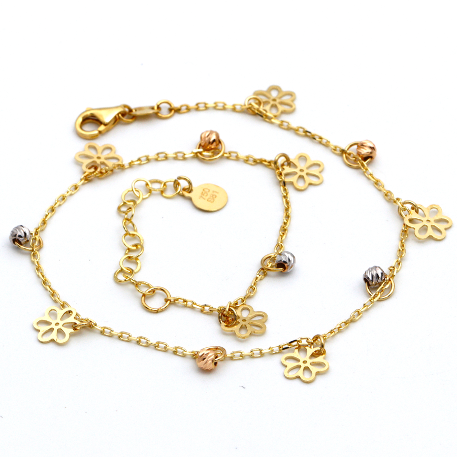 Real Gold Lotus Flower Rosary Anklet Adjustable Size A1016 - 18K Gold Jewelry