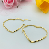Real Gold Plain Heart Earring Set - 18K Gold Jewelry