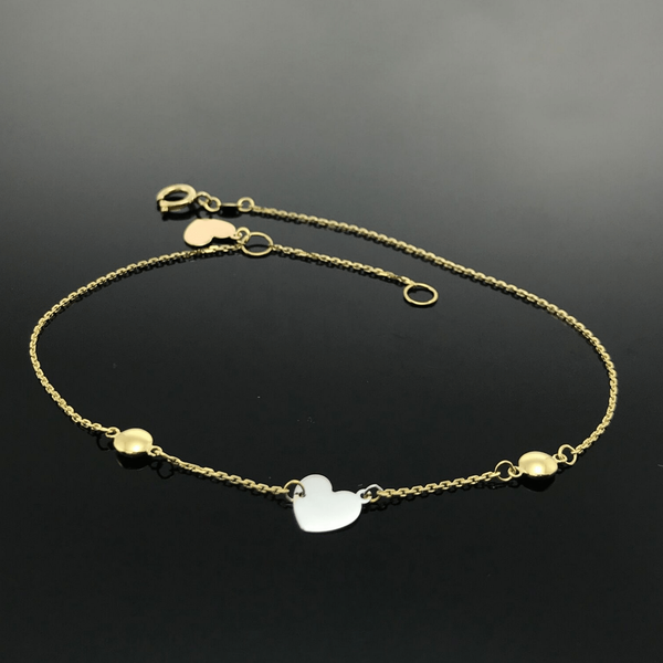 Real Gold 3 Color Heart Bracelet - 18k Gold Jewelry