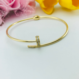 Real Gold CR Stone Nail Bangle 001-O - 18K Gold Jewelry