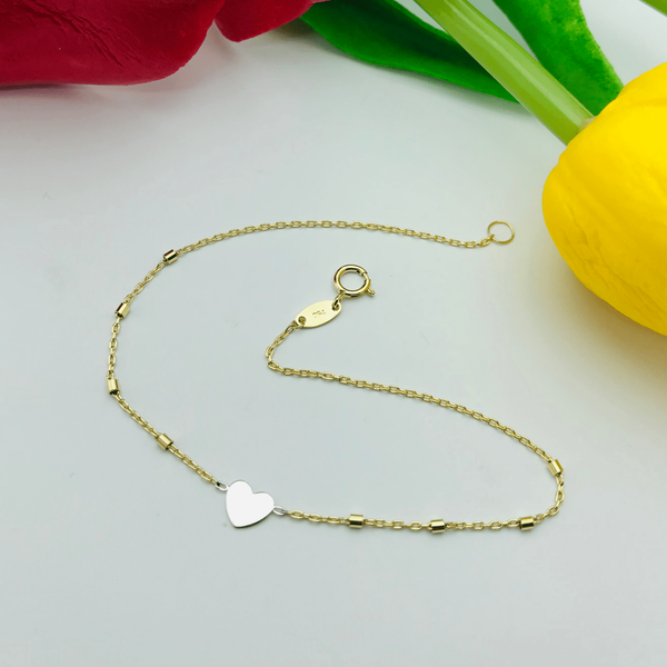 Real Gold 2 Color Heart Bracelet - 18k Gold Jewelry