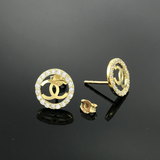 Real Gold Stone Channel Round Earring Set - 18k Gold Jewelry