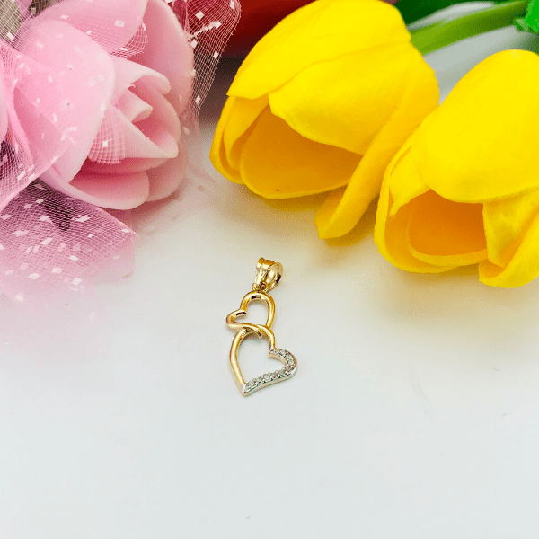 Real Gold 2 Heart Pendant 2089 - 18k Gold Jewelry