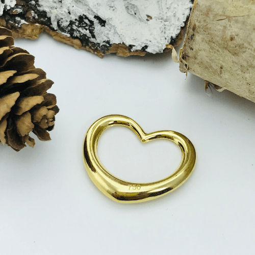 Real Gold Plain 3D Heart Pendant - 18k Gold Jewelry
