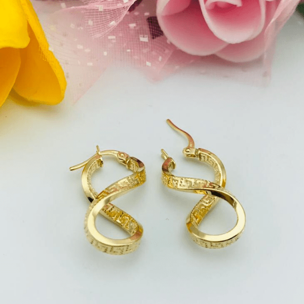 Real Gold Maze Hoop Twisted Earring Set 2020 - 18K Gold Jewelry