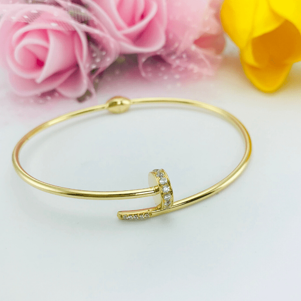 Real Gold CR Stone Nail Bangle 001-O