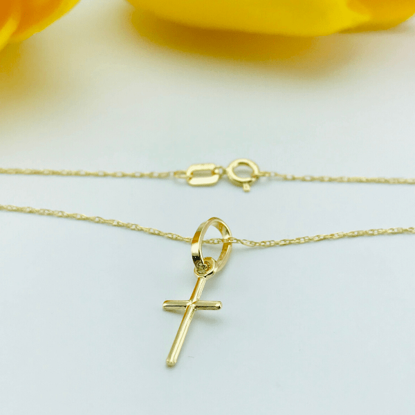 Real Gold Small 3D Cross Necklace 2020 - 18k Gold Jewelry