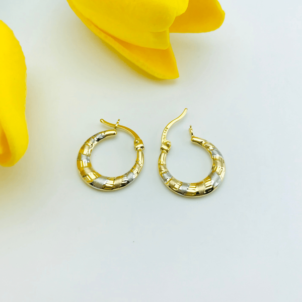 Real Gold 3 Color Earring Set 575 - 18k Gold Jewelry