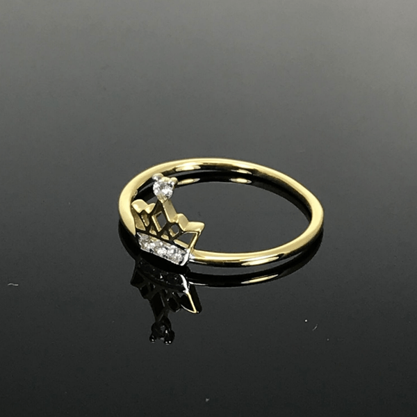 Real Gold Crown Ring (SIZE 5.5) - 18k Gold Jewelry