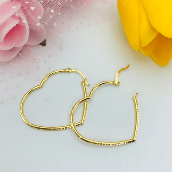 Real Gold Texture Heart Earring Set - 18K Gold Jewelry