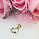 Real Gold 2 Color 3D Heart Pendant 1147 - 18K Gold Jewelry