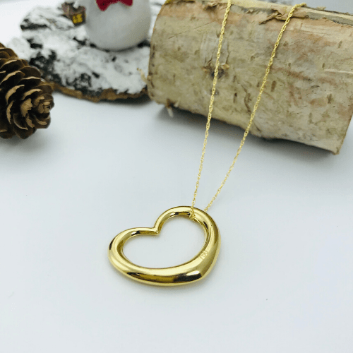 Real Gold Plain 3D Heart Necklace - 18k Gold Jewelry