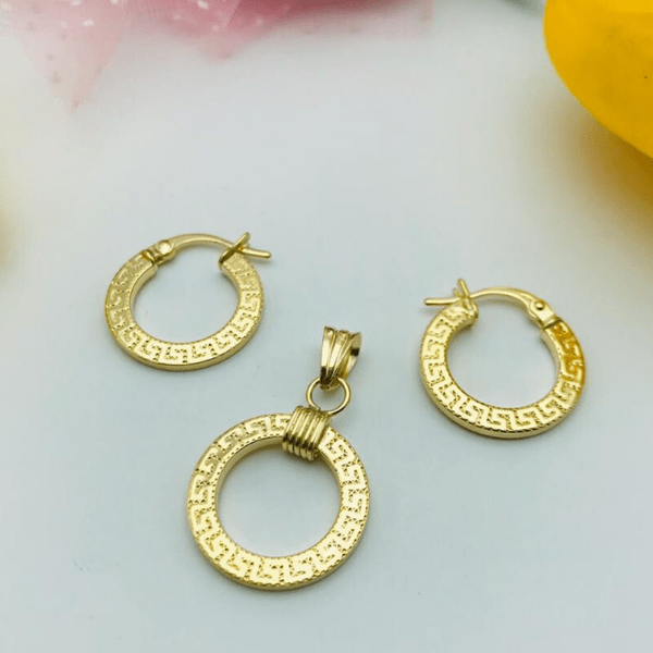 Real Gold Round Maze Hoop Earring Set With Pendant 2020