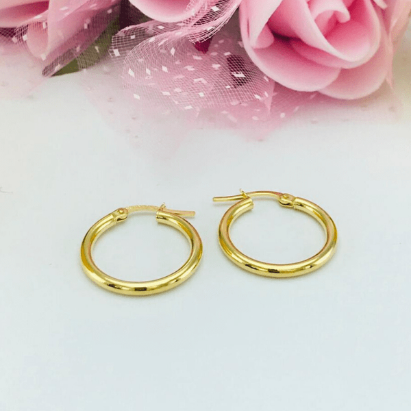 Real Gold Round Plain Earring Set 2020 - S - 18K Gold Jewelry