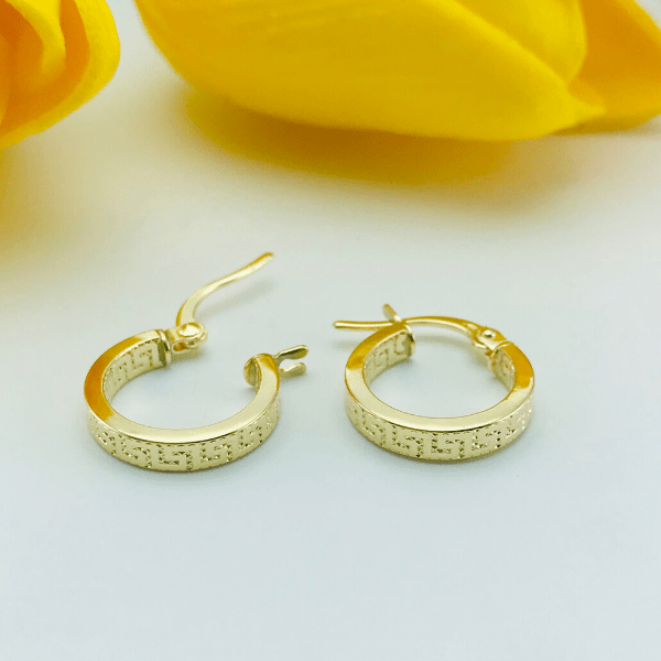 Real Gold Maze Hoop Round Earring Set 2020 - 18K Gold Jewelry