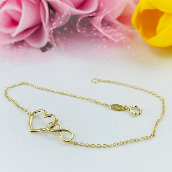 Real Gold Heart Infinity Bracelet 2889 - 18K Gold Jewelry