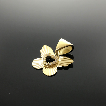 Real Gold Lined Butterfly 002 Pendant - 18K Gold Jewelry