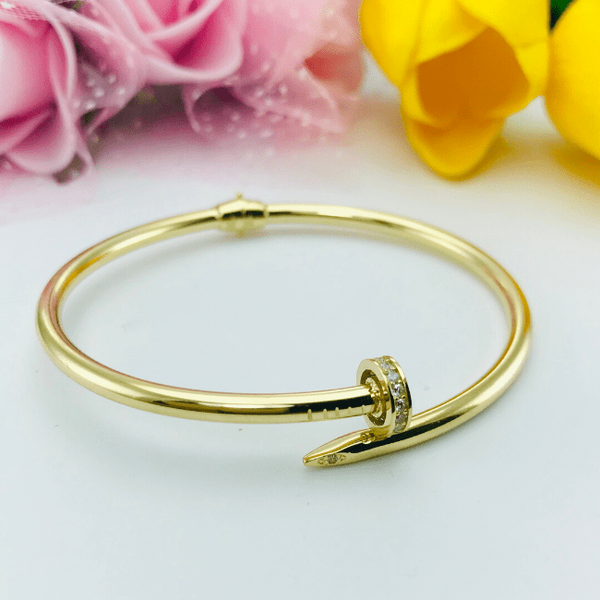 Real Gold CR Stone Nail Bangle 002-O