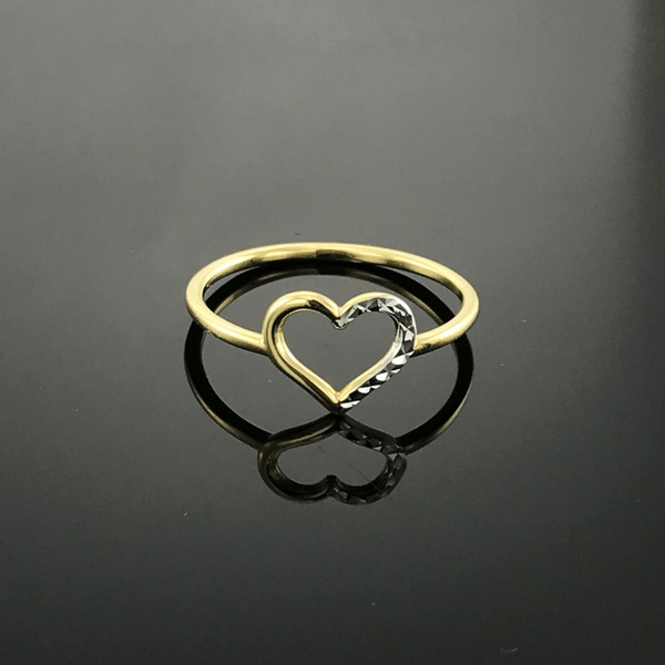 Real Gold 2 Color Heart Ring (SIZE 6.5) - 18k Gold Jewelry