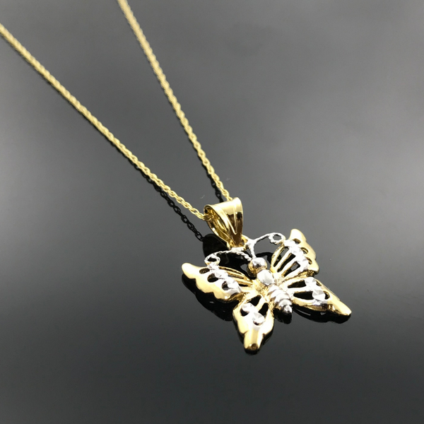 Real Gold 2C Flying Butterfly Necklace - 18k Gold Jewelry
