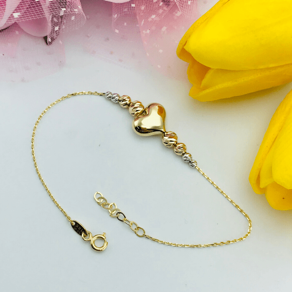 Real Gold 3D 3 Color Heart Bracelet 1365 - 18k Gold Jewelry