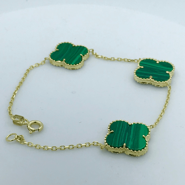 Real Gold 3VC Green Bracelet - 18k Gold Jewelry