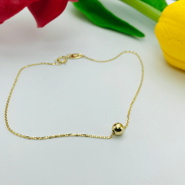 Real Gold Ball Seed Bracelet 002 - 18k Gold Jewelry
