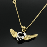 Real Gold 2 Color Wings Necklace - 18K Gold Jewelry