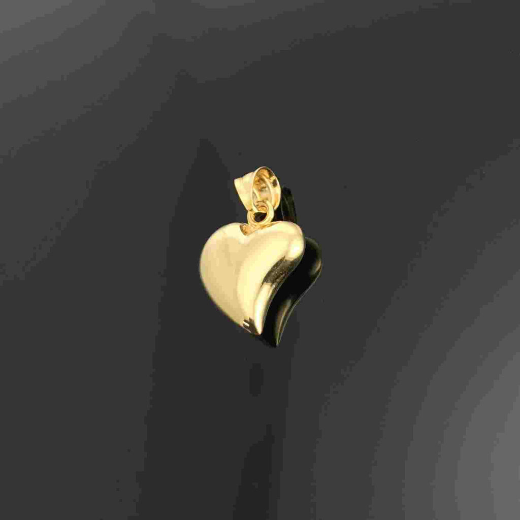 Real Gold Curved Heart 002 Pendant - 18k Gold Jewelry