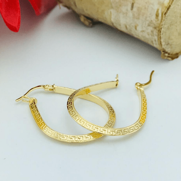 Real Gold Oval Maze Hoop Earring Set 2020