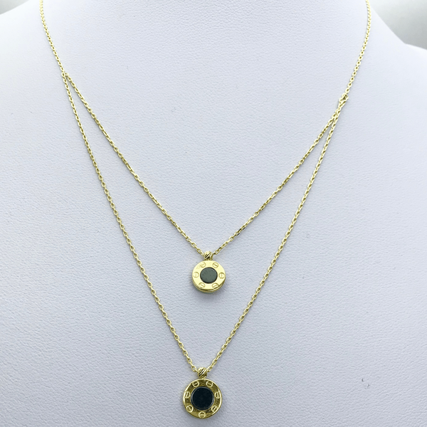 Real Gold CR Double Chain Necklace - 18k Gold Jewelry