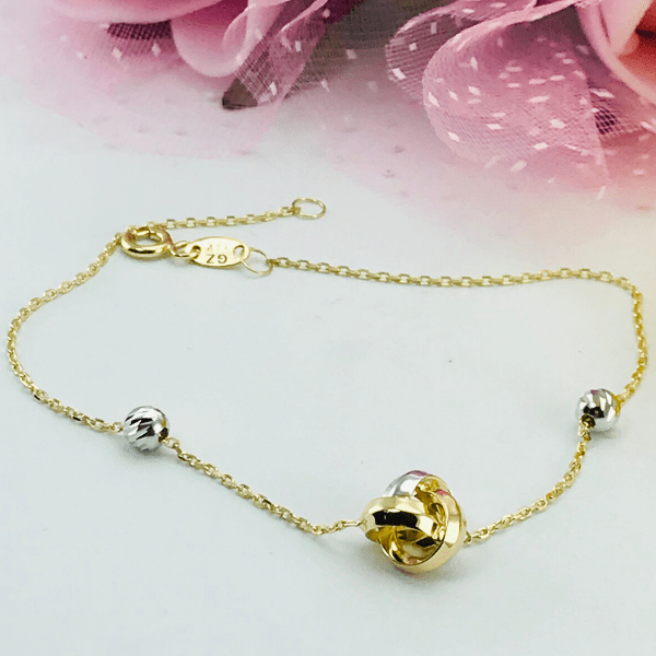 Real Gold 3 Color Ball Bracelet 9224 - 18k Gold Jewelry