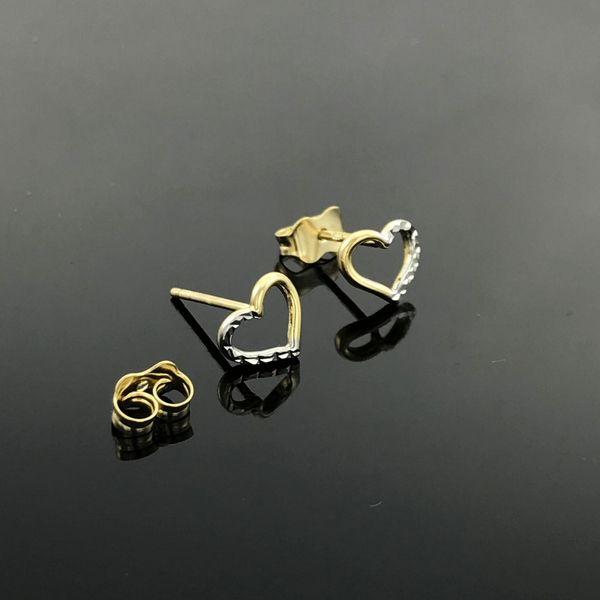 Real Gold 2 Color Heart Earring Set - 18k Gold Jewelry