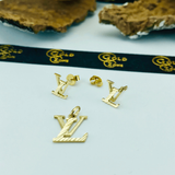 Real Gold LV B Earring Set With Pendant - 18K Gold Jewelry