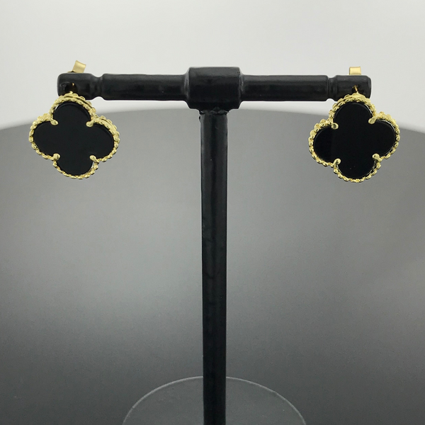 Real Gold Black VC Earring Set - 18k Gold Jewelry