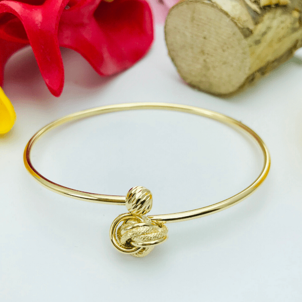 Real Gold Twisted Flower Bangle-A
